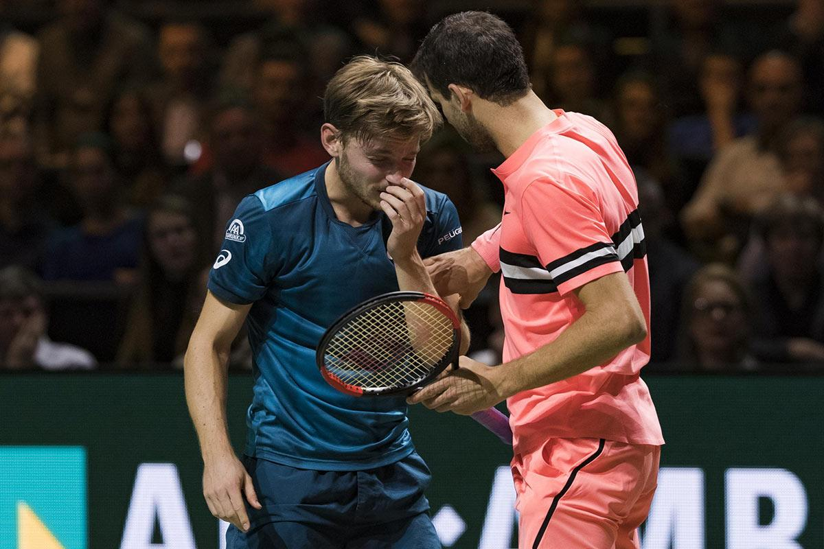 Grigor Dimitrov in finale na oogblessure David Goffin