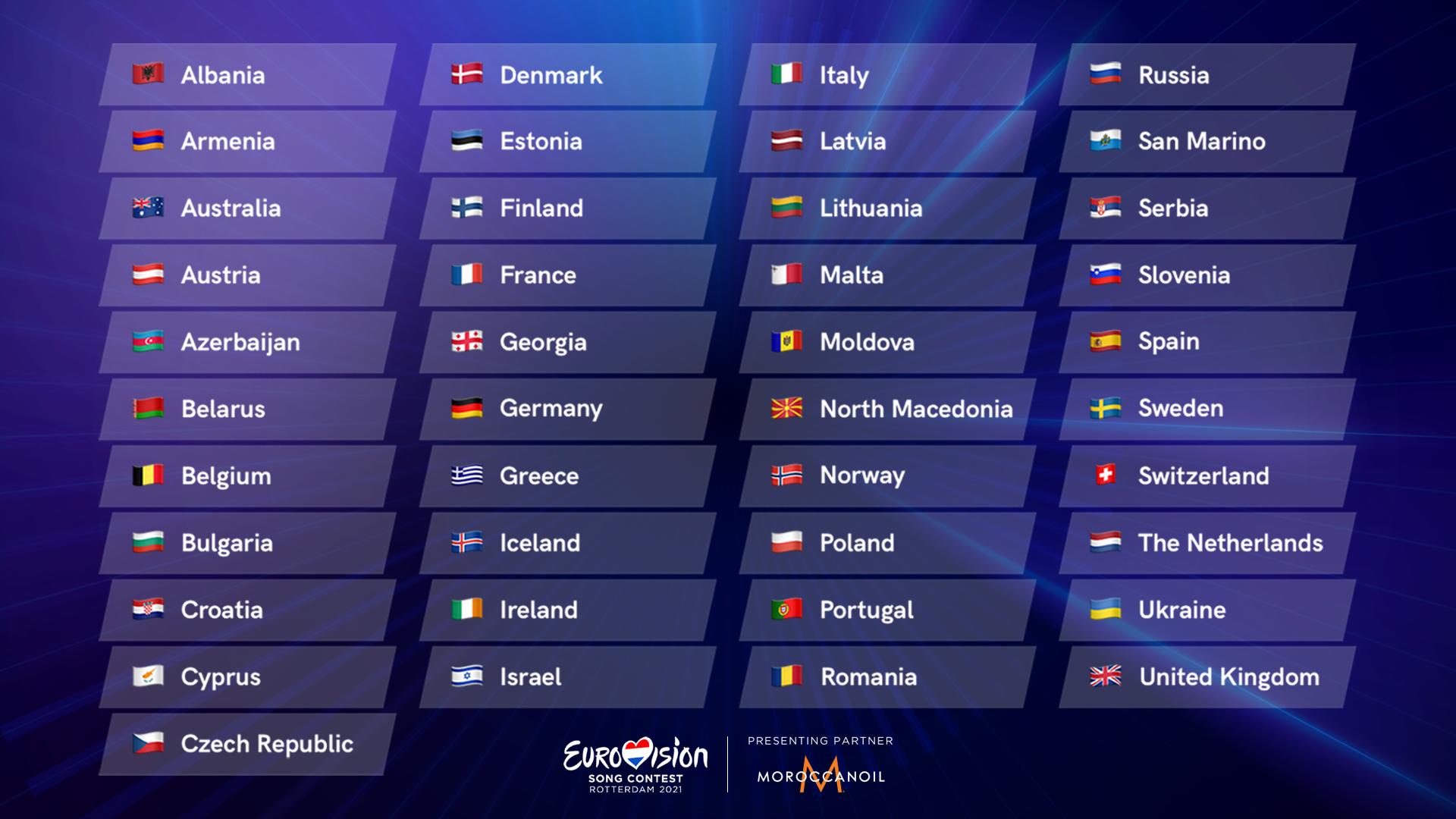 41 landen nemen deel aan het Eurovisie Songfestival 2021