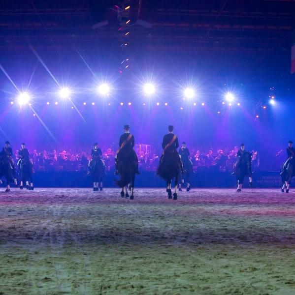Adembenemend optreden van het Friesian Top Dressage Team
